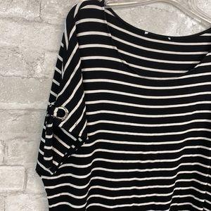 Calvin Klein black & cream knit striped shirt